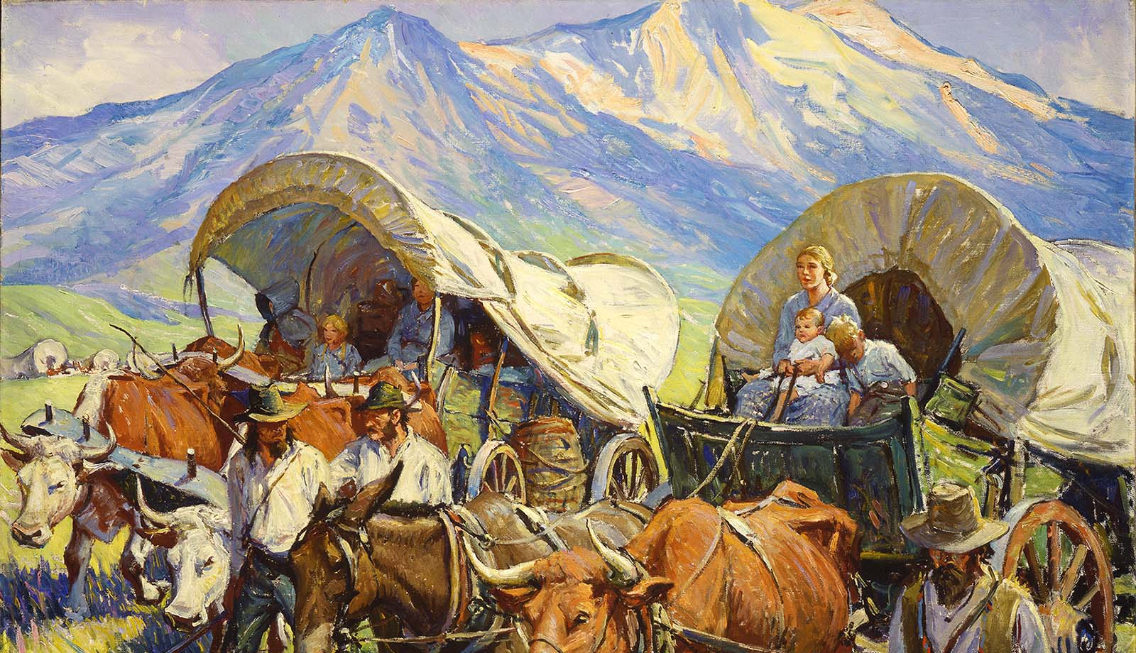 """W.H.D. Koerner (1878–1938). """"The Road to Oregon (Lone Travel, or Travel in Groups of a Few, as Andy Had Known it, Was Practically a Thing of the Past),"""" 1933. Oil on canvas. Gift of Ruth Koerner Oliver. 6.92.2 (detail)"""