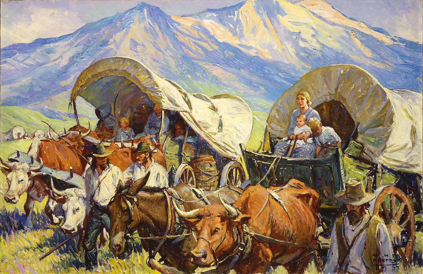 """The placid look on these pioneers' faces belies the trials of traveling West. W.H.D. Koerner (1878-1938). """"The Road to Oregon (Lone Travel, or Travel in Groups of a Few, as Andy Had Known it, Was Practically a Thing of the Past),"""" 1933. Oil on canvas. Gift of Ruth Koerner Oliver. 6.92.2"""