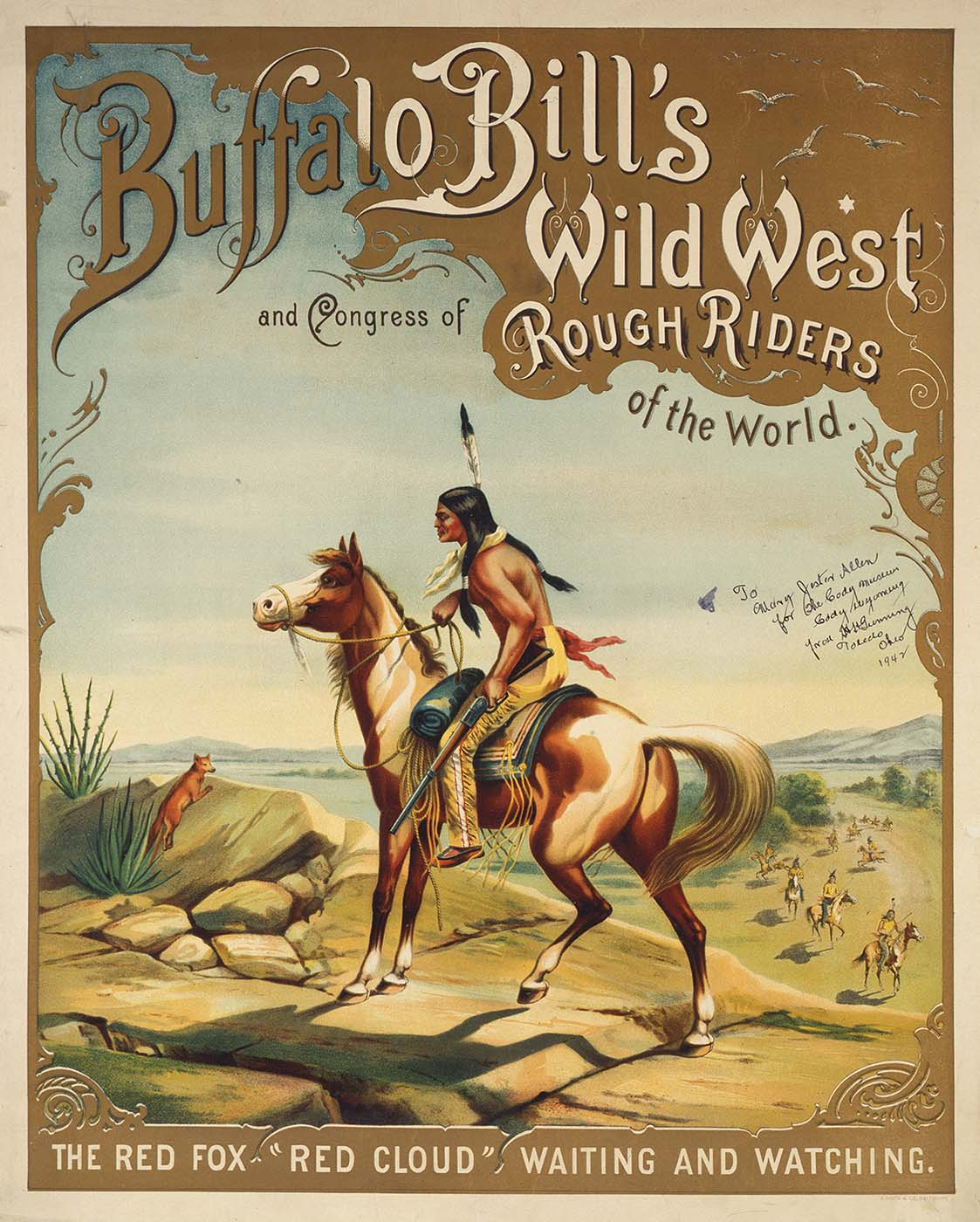"""Cunningham says that he """"never ever set out to write exclusively about Buffalo Bill's Indians."""" This 1893 Buffalo Bill's Wild West poster features one of the show's Indians, Red Cloud. Gift of H.H. Gunning. 1.69.2110"""