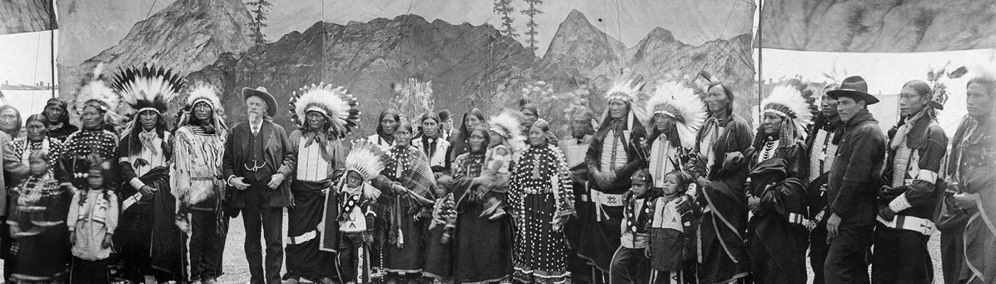 William F. Cody with Native American performers in the Wild West arena, 1890–1910. MS 6 William F. Cody Collection, McCracken Research Library. P.69.897
