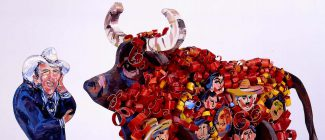 """Audrey Roll-preissler (b 1932). """"Trojan Piñata (Portrait of Alan Simpson),"""" 1987. Polychromed wood with paper, 21.25 x 32.5 x 14.75 inches. Gift of the artist. 10.93 (detail)"""