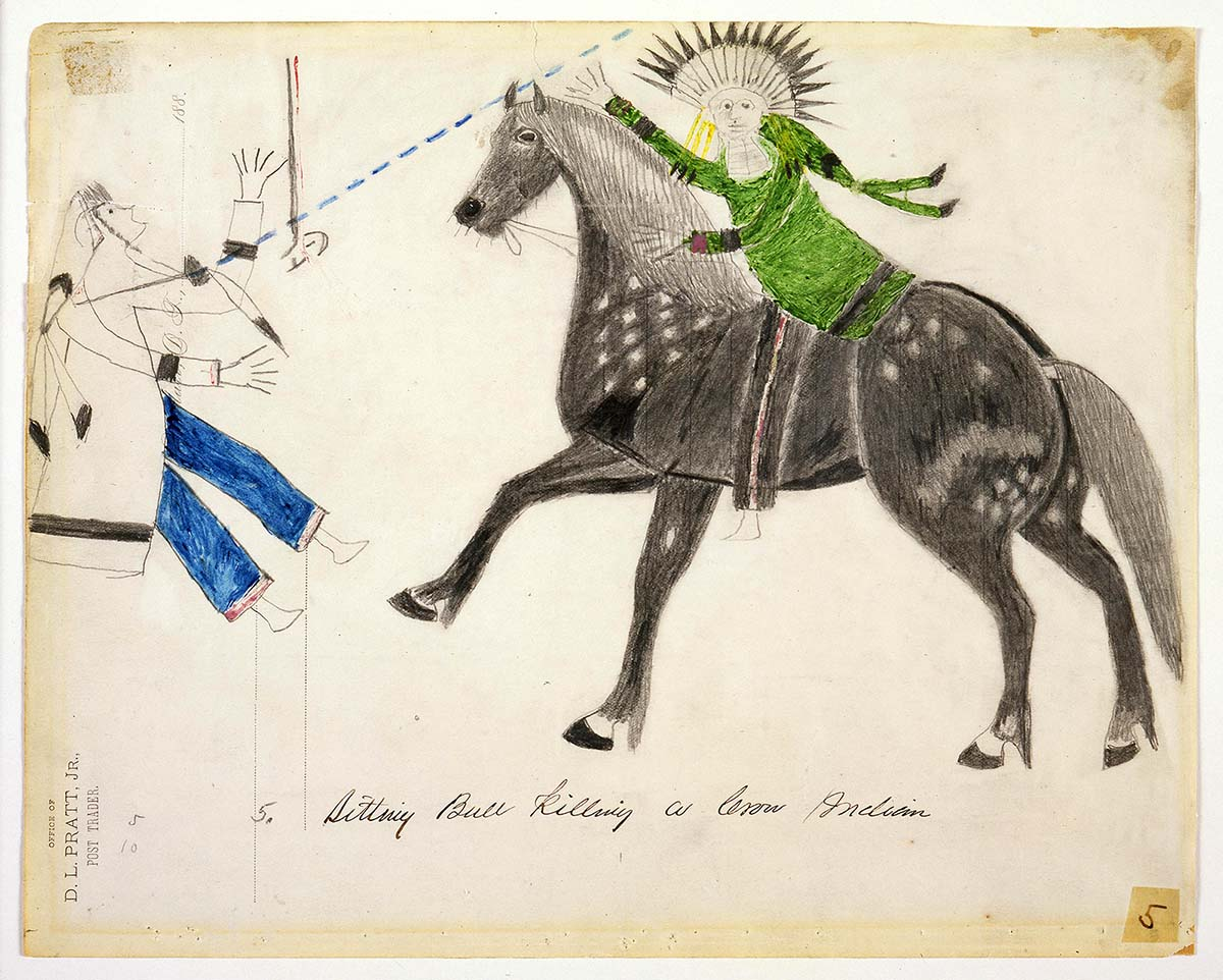 """Sitting Bull (1831 - 1890). """"Sitting Bull Killing a Crow Indian,"""" 1882. Pencil and crayon on paper, 8.5 x 10.25 inches. The Pratt-Evans-Pettinger-Anderson Collection. 40.70.5"""