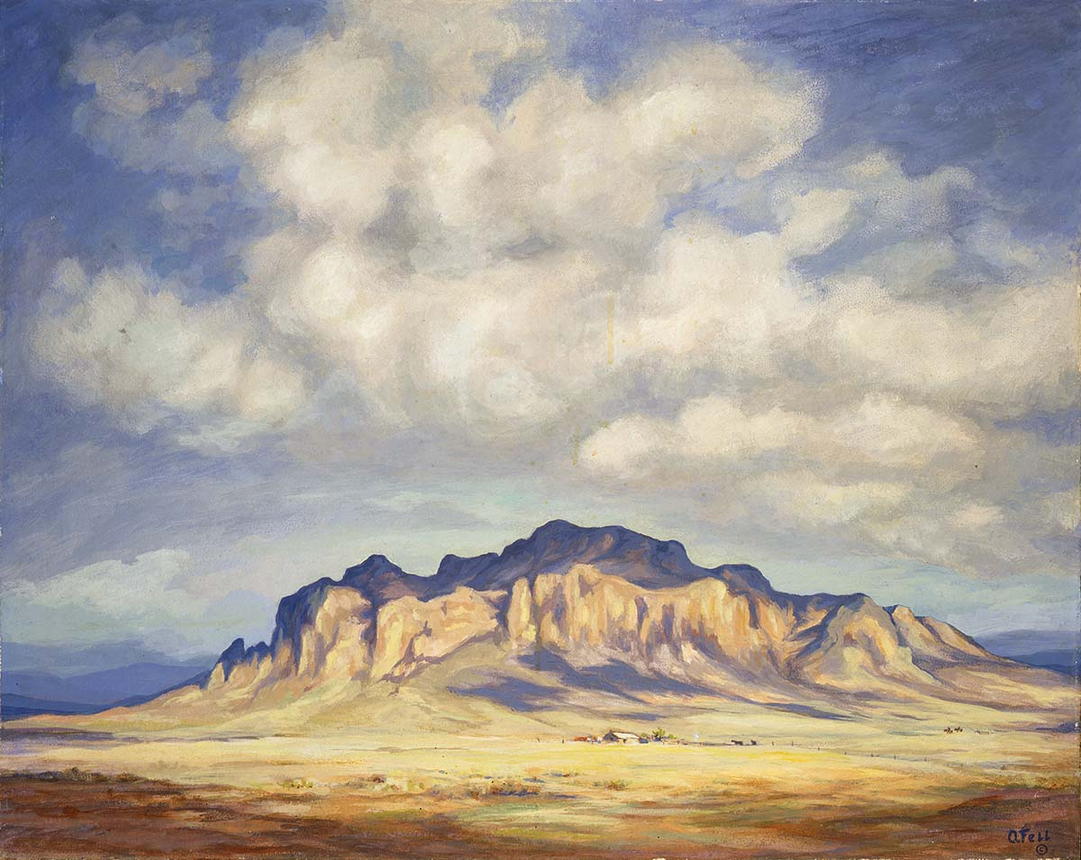 Olive Fell (1896 - 1980). Landscape, ca. 1950. Oil on board. Gift of Paul Krogman and Claude Rauch in memory of Bill Cody. 1.93.1