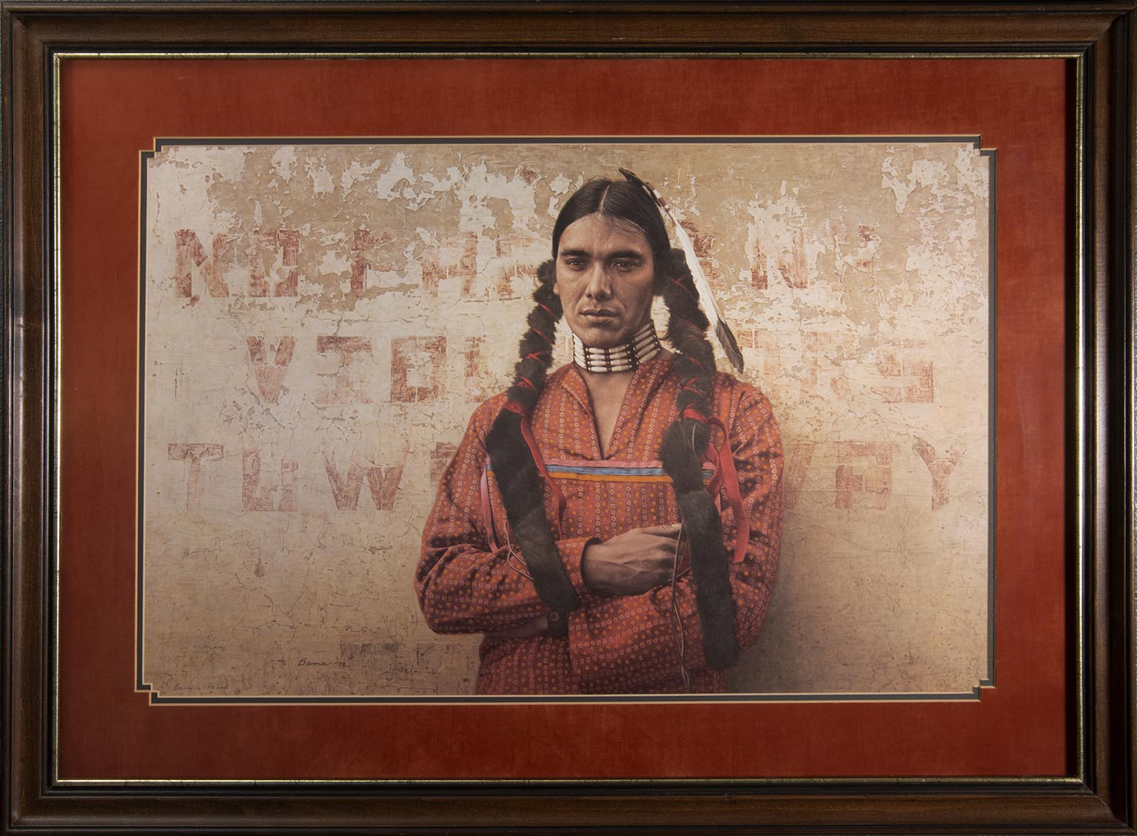 """James Bama print: """"A Contemporary Sioux Indian,"""" framed, signed, and numbered, 594/1000; 29 3/4 x 39 3/4 inches."""