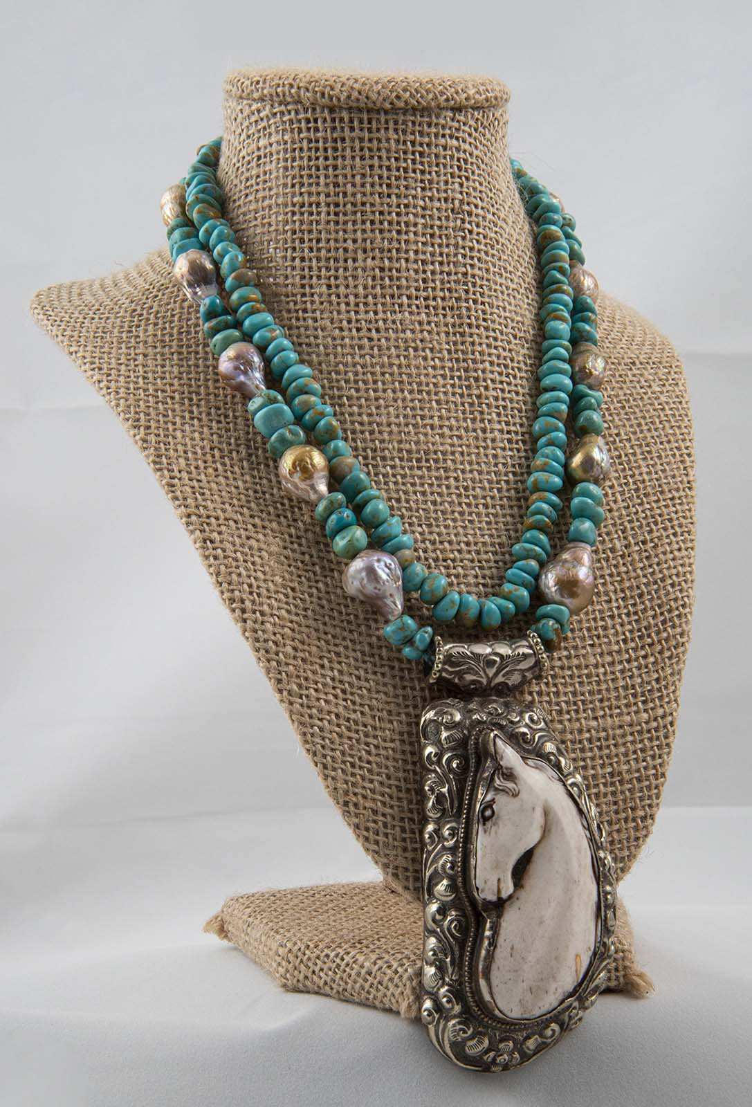 Baroque pearls on Sonoran turquoise two-strand necklace; 16 inch.