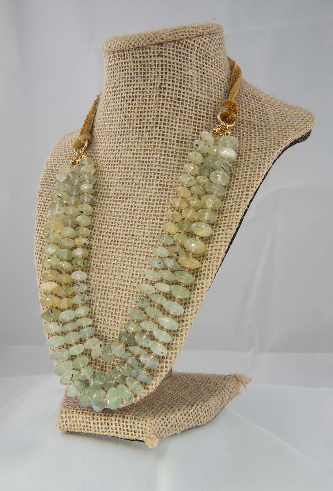 Prehnite on gold silk with deer lace necklace; 12 inch (beaded length) with deer lace adjustable to increase length.