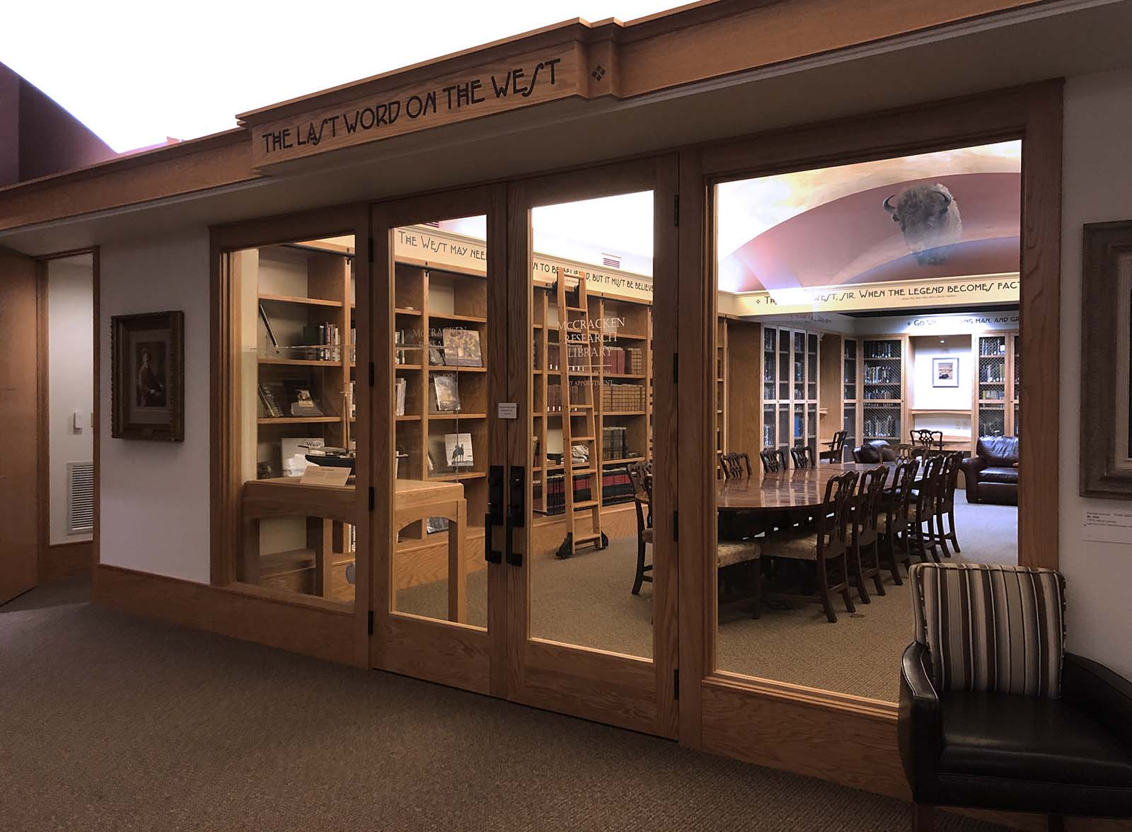 As the McCracken's collection has grown, so has the library's space changed. Looking into the Reading Room from the Library Gallery in 2020.