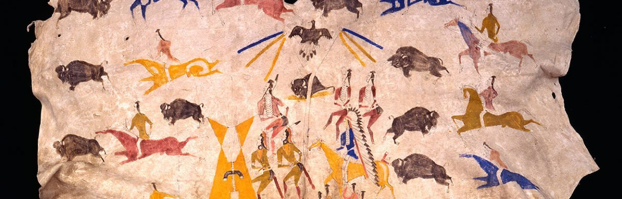 Painted hide, Sundance and buffalo hunt, 1900. Painted by Kadzie Cody, So-soreh (Shoshone). Hide, pigment. NA.702.31